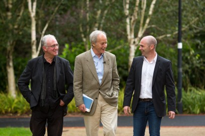 Pulitzer Prizewinning novelist Richard Ford (centre) is greeted by Professor Joseph O'Connor, UL's Frank McCourt Chair in Creative Writing (left) and Writer in Residence, Donal Ryan (right) during his first ever visit to Limerick. Richard Ford, the Pulitzer Prizewinning novelist, gave a rare public reading at the University of Limerick yesterday evening. Invited and introduced by Professor Joseph O'Connor, UL's Frank McCourt Chair in Creative Writing, Ford read from his latest book, a quartet of overlapping stories, Let Me Be Frank With You and took questions from full-to-capacity audience of over 350 members of the public who took full advantage of the opportunity to quiz the world renowned best-selling author. The event was Mr Ford's first ever visit to Limerick and was co-sponsored by the University of Limerick Arts office and Limerick City and County Arts Office. Pic Sean Curtin Fusionshooters.
