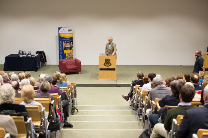 Richard Ford, the Pulitzer Prizewinning novelist, gave a rare public reading at the University of Limerick yesterday evening. Invited and introduced by Professor Joseph O'Connor, UL's Frank McCourt Chair in Creative Writing, Ford read from his latest book, a quartet of overlapping stories, Let Me Be Frank With You and took questions from full-to-capacity audience of over 350 members of the public who took full advantage of the opportunity to quiz the world renowned best-selling author. The event was Mr Ford's first ever visit to Limerick and was co-sponsored by the University of Limerick Arts office and Limerick City and County Arts Office. Pic Sean Curtin Fusionshooters.