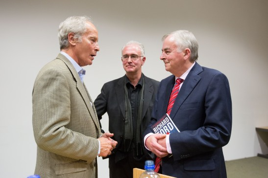 Pulitzer Prizewinning novelist Richard Ford (left) is greeted by Professor Joseph O'Connor, UL's Frank McCourt Chair in Creative Writing (centre) and University of Limerick President, Don Barry during his first ever visit to Limerick. Richard Ford, the Pulitzer Prizewinning novelist, gave a rare public reading at the University of Limerick yesterday evening. Invited and introduced by Professor Joseph O'Connor, UL's Frank McCourt Chair in Creative Writing, Ford read from his latest book, a quartet of overlapping stories, Let Me Be Frank With You and took questions from full-to-capacity audience of over 350 members of the public who took full advantage of the opportunity to quiz the world renowned best-selling author. The event was Mr Ford's first ever visit to Limerick and was co-sponsored by the University of Limerick Arts office and Limerick City and County Arts Office. Pic Sean Curtin Fusionshooters.