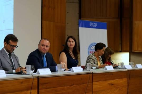 Prof Sergio Adorno (Dean of Languages Faculty, USP), Brian Glynn (Irish Ambassador to Brazil), Sharon Lennon (Irish Consul General to Sao Paulo), Prof Munira Mutram (Irish Studies Founder, USP).