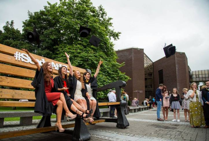 Attending the conferring ceremony were Bachelor of Laws (Law Plus) graduates, Angie Tuohy, Kilfinanne Co. Limerick, Laura Galvin, Killarney Co. Kerry, Kate Dundon, Craughwell, Co. Galway and Slaney Byrne, Carrick on Shore Co. Tipperary. Picture: Alan Place.