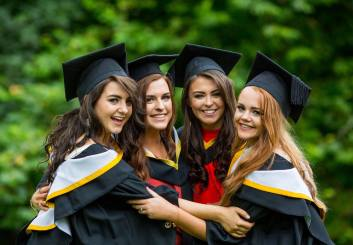 Attending the conferring ceremony were Bachelor of Laws (Law Plus) graduates, Slaney Byrne, Carrick on Shore Co. Tipperary, Angie Tuohy, Kilfinanne Co. Limerick, Laura Galvin, Killarney Co. Kerry, and Kate Dundon, Craughwell, Co. Galway. Picture: Alan Place.