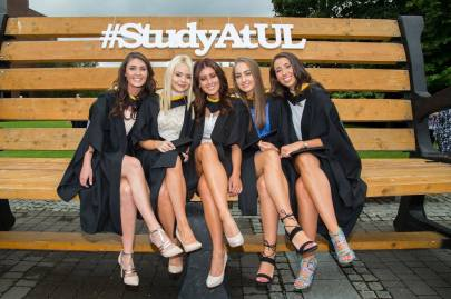 Attending the conferring ceremony were Bachelor of Arts in Law and Accounting graduates, Sarah O'Dea, Kildimo Co. Limerick, Michelle McGrath, Raheen, Co. Limerick, Laura Naughton, Corbally, Limerick, Saidhbhe Flavin, Athea Co. Limerick and Gillian O'Rourke, Ballyclough Co. Limerick. Picture: Alan Place.