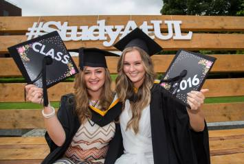 Attending the conferring ceremony were Bachelor of Arts in Psychology and Sociology graduates, Jessica Reilly, Carbury Co. Kildare and Kate Gorey, Ennis Road, Limerick. Picture: Alan Place
