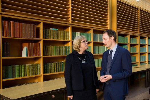 14.10.2016 REPRO FREE A new research centre focussing on Irish and European history and culture was launched in Limerick. Pictured at the launch were, Prof. Jane Ohlmeyer, Erasmus Smith's Chair of Modern History, Trinity College Dublin, Director of the Trinity Long Room Hub, and Chair of the Irish Research Council and Dr. Richard Kirwan, Dept. History UL. The Centre for Early Modern Studies brings together experts from University of Limerick and Mary Immaculate College to further the study of the history and culture of the 16th, 17th and 18th centuries. The Centre for Early Modern Studies was launched with an inaugural lecture by Professor Jane Ohlmeyer, Erasmus Smith's Chair of Modern History, Trinity College Dublin, Director of the Trinity Long Room Hub, and Chair of the Irish Research Council. Professor Ohlmeyer spoke on the topic of 'Early Modern Ireland and the Wider World'. Picture: Alan Place