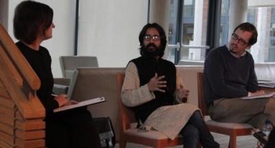 Aseem Trivedi in conversation with Fergal Quinn and Muireann Prendergast. Photo: Andrew Roberts