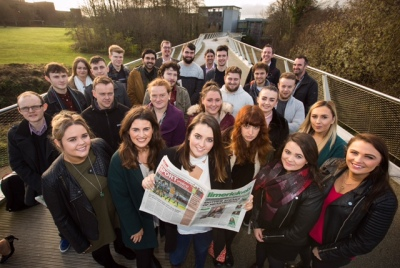 Pictured at the launch were, centre, Michelle Hogan, Editor with journalism students from University of Limerick who contributed to the paper. Picture: Cathal Noonan True Media