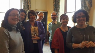 The books' editors and publishers with Órla and Medbh McKeown, granddaughters of Annie Cooney (whose photograph is the cover image for the book)