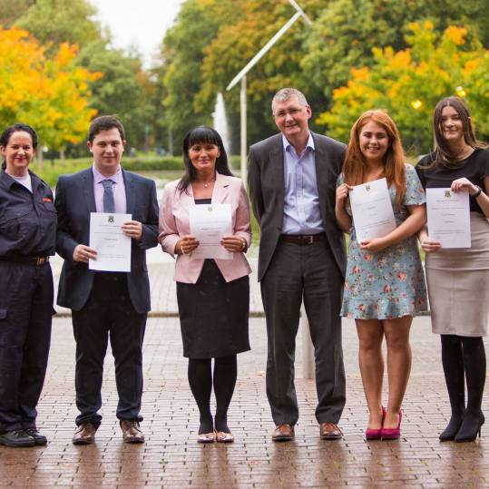 Pictured at the awards ceremony at the University of Limerick was Shane Kilcommins, Head of UL Law School with law students Mairead O Regan, Co. Limerick, Christoir Hasty, Co. Westmeath, Margaret Ann Cussack, Co. Clare, Amy Beck, Co. Clare and Ciara Downs, Co. Clare.