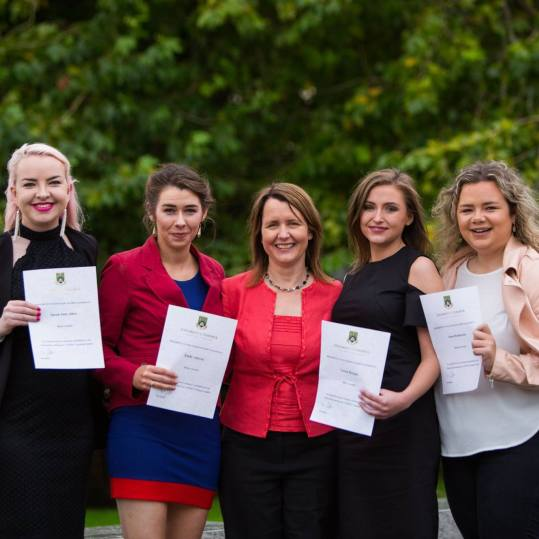 Pictured at the awards ceremony at the University of Limerick was Sarah Jane Allen from Co. Laois, Emily Ahern from Co. Waterford, Helen Kelly Holmes, Arts, Humanities & Social Sciences UL, Lorna Horgan from Co. Cork and Anna Henderson from Co. Cork.