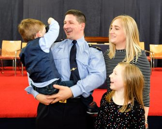 Garda Vincent McCarthy from Mallow pictured with Noah (2), Katelyn (9) and Brid