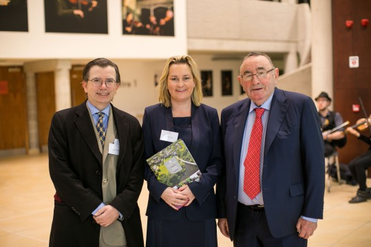 John O'Dowd (UCD), Bríd O'Flaherty BL, the Hon Mr Justice Hugh O'Flaherty (Former Supreme Court Judge). Picture Oisin McHugh True Media.