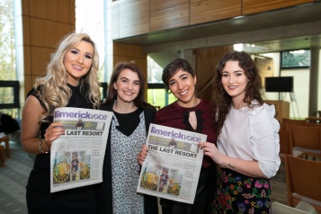 REPRO FREE 07/12/17 Limerick Voice newspaper is tenth edition from journalism students at University of Limerick. Pictured at the launch at the University of Limerick was Siun Lennon, News Editor, Laura Sheehan, Production, Marisa Kennedy, Editor and Roisin Duffy, Production. The 40-page local newspaper, produced by masters and fourth year undergraduate journalism students at the University of Limerick. The paper will be distributed across Limerick city and county with this weekend's edition of the Limerick Leader newspaper.   The online news website www.limerickvoice.com has been live since September, covering daily breaking news and sports stories. Limerick Voice has also been active across all social media platforms including Facebook, Twitter and Instagram. Photo: Oisin McHugh True Media