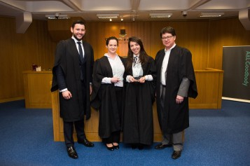 Dr Stephan King, A&L Goodbody, Mairead O Regan, Dominique Rodrigues and Making a Murderer defence lawyer Dean Strang at the A & L Goodbody Mooting Competition in the School of Law at the University of Limerick. Photo: Oisin McHugh True Media
