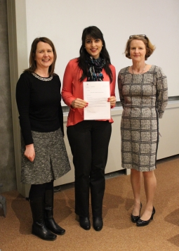 Finalist Milena Cosentino with Prof. Helen Kelly Holmes and Dr Ann Ledwith