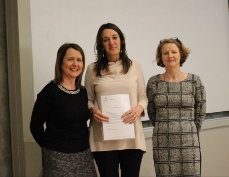 Finalist Kathryn Hayes with Prof. Helen Kelly Holmes and Dr Ann Ledwith