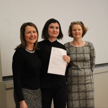 Winner Muireann Prendergast with Prof. Helen Kelly Holmes and Dr Ann Ledwith