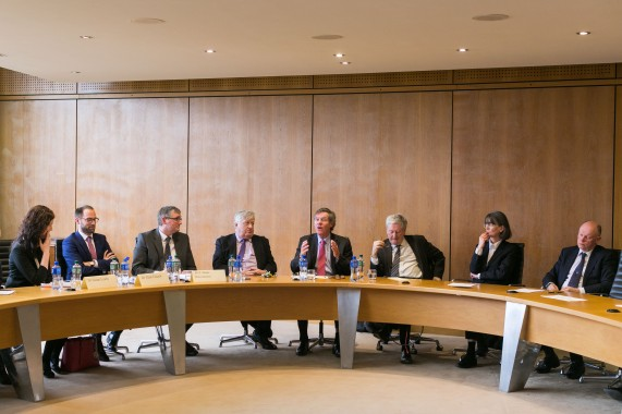 Supreme Court judges participate in a roundtable discussion with staff and postgraduate students in the School of Law. Photo: Oisin McHugh True Media