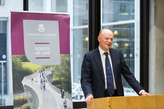 The Hon. Mr Justice Donal O Donnell officially opened the refurbished School of Law, which now includes a new reception area, teaching space, meeting room, staff kitchen, PhD spaces and additional offices. Pictured speaking at the opening was Mr Justice Donal O Donnell. Photo: Oisin McHugh True Media